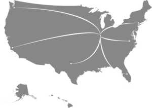Map of the US. Pro-Type Printing is located in Paxton, Illinois serving all over the United States.